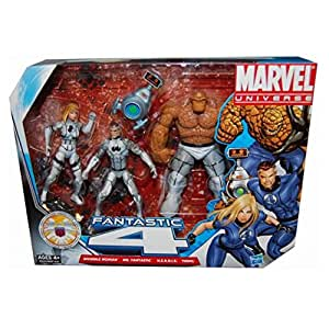 Marvel Universe 3 3/4 Inch Action Figure 3Pack Fantastic Four Invisible Woman, Mr. Fantastic Thing with H.E.R.B.I.E by Hasbro Toys