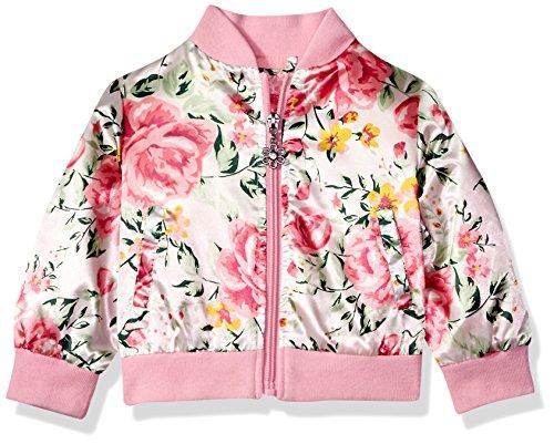 Pink Platinum Baby Girls Floral Satin Bomber, Cream, 24M Baby Bomber Jacket