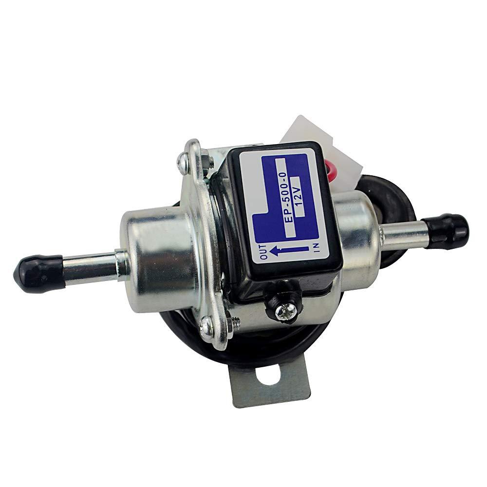 PQYRACING 12V Electric Fuel Pump 3-5psi EP-500-0 035000-0460 12585-52030 for Diesel Gasoline pertrol case