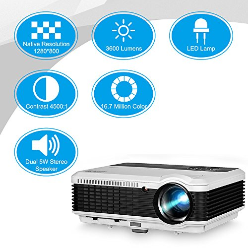 WXGA HDMI LCD Projector Outdoor Theater Support Full HD 1080P Video Projectors Home Cinema System 3600 Lumens Digital Smart Beamer for Movie Gaming TV Holiday Party Entertainment by EUG