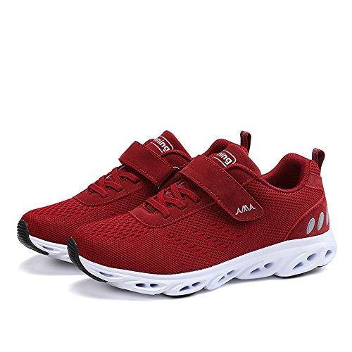 Fitness Homme Femme Baskets Mixte Chaussures de Adulte Velcro Running de Sneakers Rouge Sport Course 44 Chaussures 36 gRRzInU