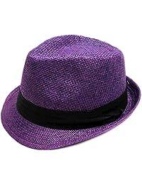 AshopZ Women Men Summer Double Colors Straw Fedora Hat w/Rasta Band