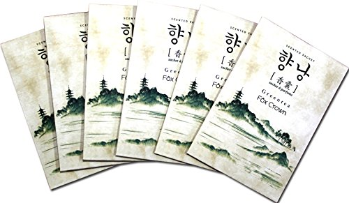 6 Pack Fresh Green Tea Scented Membrane Sachet Envelope Pleasant Fragrance for Home Bags by Fox Crown