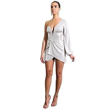 JIALELE Vestido Fiesta Mujer,De Fiesta,Vestidos Para Mujer Falda Irregular _ Profunda V