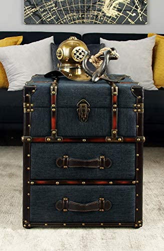 Deco 79 Traditional Fabric-Covered Wooden Trunk-Style End Table