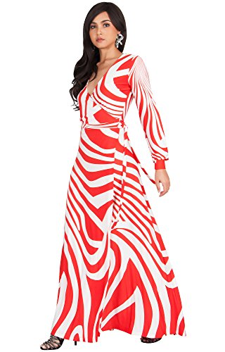 KOH KOH Women's Long Sleeve Printed Crossover Wrap Elegant Cocktail Maxi Dress - Large (3) - Red & - Printed Crossover