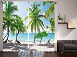 coastal living rooms Ambesonne Beach Decor Curtains by, Palm Leaves Catalina Island Seashore Coastal Panoramic Picture, Window Drapes 2 Panel Set for Living Room Bedroom, 108 W X 84 L Inches