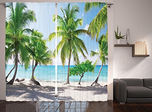 Ambesonne Beach Decor Curtains By, Palm Leaves Catalina Island Seashore Coastal Panoramic Picture, Window Drapes 2 Panel Set For Living Room Bedroom, 108 W X 84 L ()