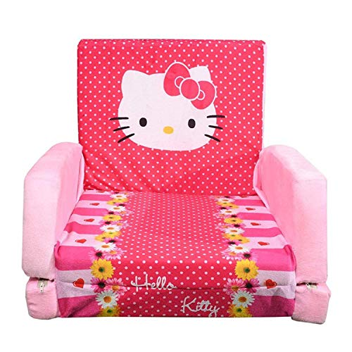 THE HOME STYLE Foam Cotton Hello Kitty Design Soft Toy Sofa Cum Bed for Kids (Multicolour, 0 to 6 Years)