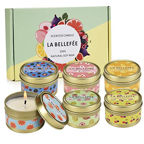 LA BELLEFÉE Fruity Scented Candles Gift Set, Natural Soy Wax Travel Tin Candle Stress Relief Aromatherapy with Sweet Odor 6-Pack(Berry, Peach, Cherry, Grapefruit, Tarocco Blood Orange, Mediterranean)