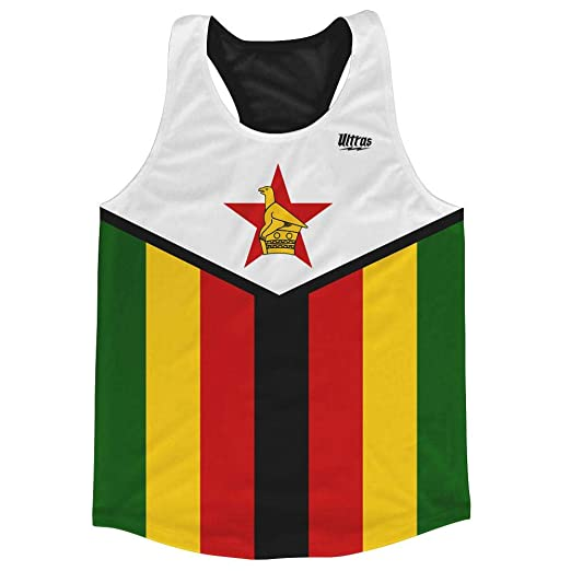 8ae3eb3f8b6 Zimbabwe Country Flag Running Tank Top Racerback Track and Cross Country  Singlet Jersey, Green Yellow