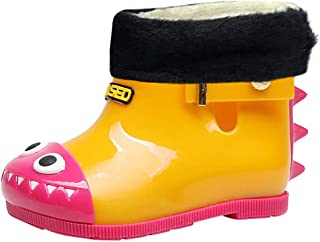 Shusuen Toddler Kids Rain Boots Rubber Cute Dinosaur Printed with Velvet Shoes