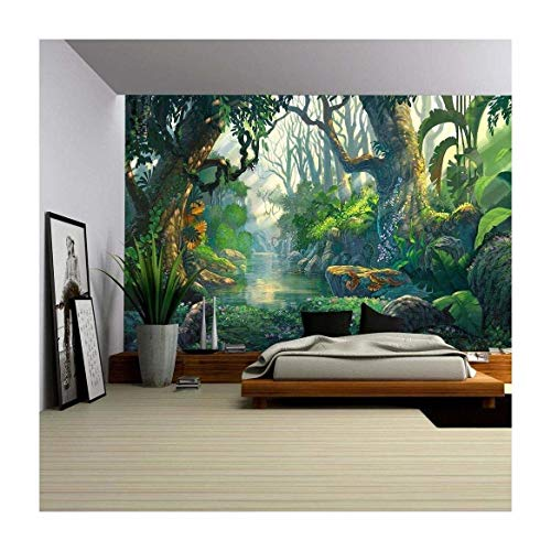 - wall26 - Illustration - Fantasy Forest Background Illustration Painting - Removable Wall Mural | Self-Adhesive Large Wallpaper - 100x144 inches