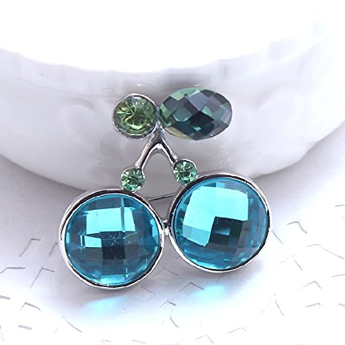 Xi Yao jewelry fashion vintage style diamond elegance blue cherries brooch clothing ()