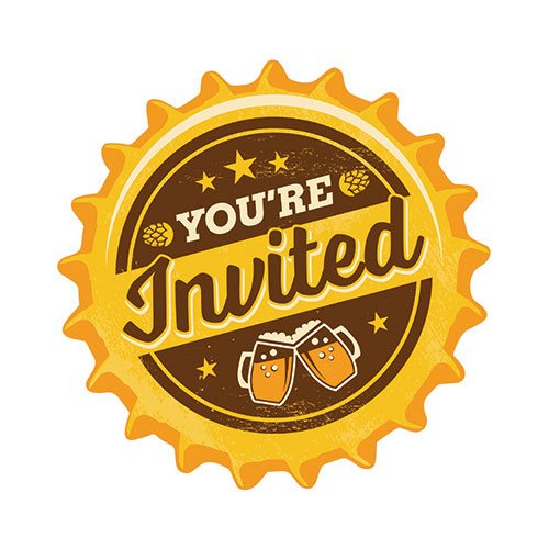 (Creative Converting 324451 8 Cheers & Beers Bottle Top Birthday Party Invites & Envelopes Invitation, 4.5