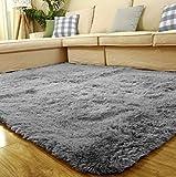 Coral velvet Soft Shaggy Area Rug Bedroom Pad Living Room Floor Mat Carpet Non-Slip Cover (80cm x160cm ) (Gray)