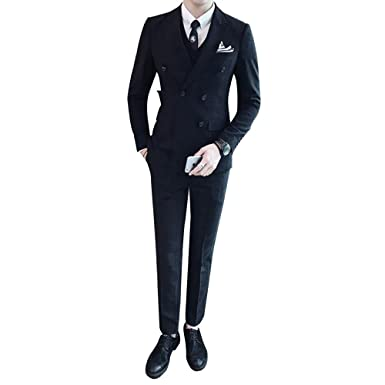 187f820cc7f699 Men's 3 Piece Double Breasted Suit Plaid Tuxedo Slim Fit Jacket Pants Vest  Set at Amazon Men's Clothing store: