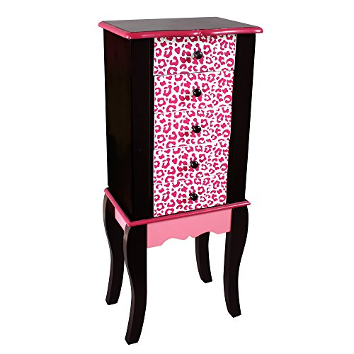 Teamson Kids - Fashion Prints Kids Jewelry Chest Armoire - Leopard (Pink / Black)