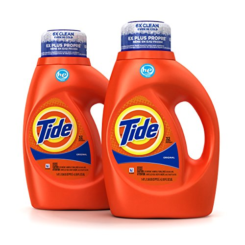 Tide Original Scent HE Turbo Clean Liquid Laundry Detergent, 50 Fl Oz (32 Loads), (Pack Of 2)