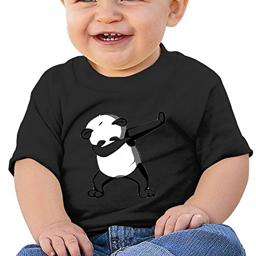 Price comparison product image Oswjswj Baby Dabbing Dance Panda Unisex Infants Crew Neck Short Sleeve Tee 18 Months Black