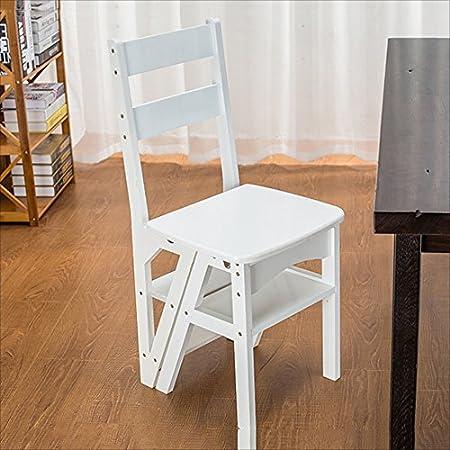 DINJUEN Escalera Plegable de Madera Silla Plegable Biblioteca Pasos Escalera Silla Cocina Oficina Uso Práctico (Color : Blanco): Amazon.es: Hogar