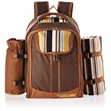 Ferlin Picnic Backpack With Cooler Compartment, Detachable Bottle/Wine Holder, Fleece Blanket, Plates and Cutlery Set (Coffee)
