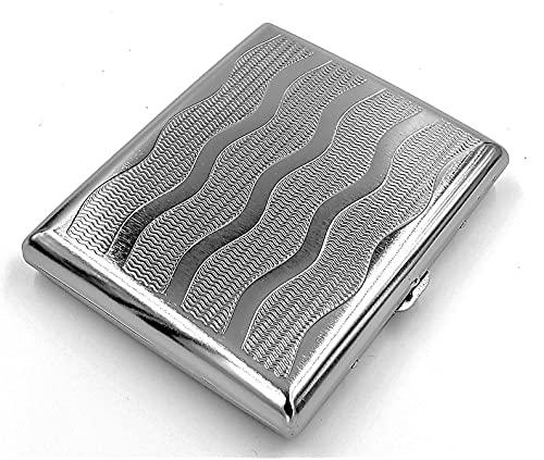 estuche de metal vintage para cigarrillos Ocean Silver