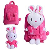 Gloveleya Bunny Rabbit Plush Kid's Backpack Shoulder Bags 8'' for Kids Under 5 Years Old