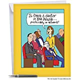 Doctor in the House' Jumbo Get Well Card with Envelope 8.5 x 11 Inch - Funny Comic, In-Network Health Insurance Cartoon Design Stationery Set for Personalized Message, Get Well Soon Greeting J4025GWG