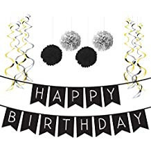 Birthday Party Pack – Black & Silver Happy Birthday Bunting, Poms, and Swirls Pack- Birthday Decorations - 21st - 30th - 40th - 50th Birthday Party Supplies