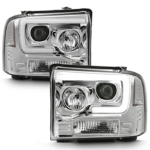ACANII - For 2005 2006 2007 Ford F250 F350 F450 LED Light Tube Projector Headlights Headlamps Driver & Passenger Side
