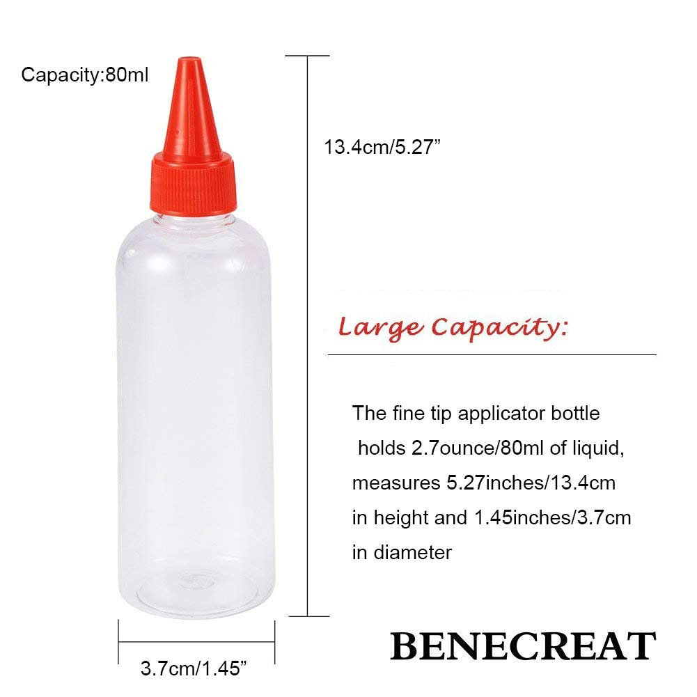 BENECREAT 18 Pack 2 Ounce Clear Tip Applicator Bottle Plastic Bottle with Red//Blue//White Tip Caps Glue Good for Crafts Art Multi Purpose