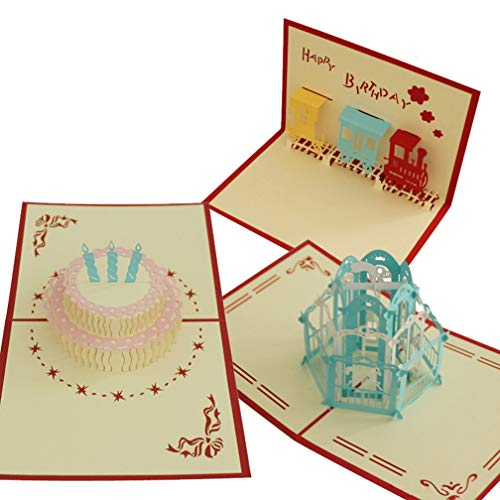 - Pack of 3 Pop up Card Paper Craft for Wife Husband Kids Friend Girlfriend Graduation Laser Cut Hand-Craft Greeting Cards Gift Merry-On-Round Birthday Cake Happy Train Gift Box