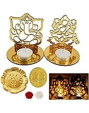 Decorative Buckets Lakshmi Ganesh Idol|Ganesh laxmi Shadow Tea Light Holder|DEEPAWALI/Diwali PUJA |Lakshmi Statue|Ganesha Statue|Pooja thali|Diwali Decorations|Diwali Gifts| Diwali diyas