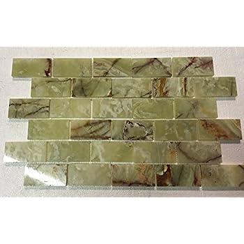 2x4 Green Onyx Polished Mosaic Tiles on the Mesh Sheet - Glass Tiles ...
