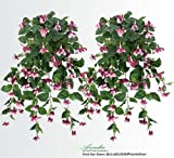 """35"""" Artificial Fuchsia Hanging Flower Bushes _burgundy, with No Pot, (Pack of 2)"""