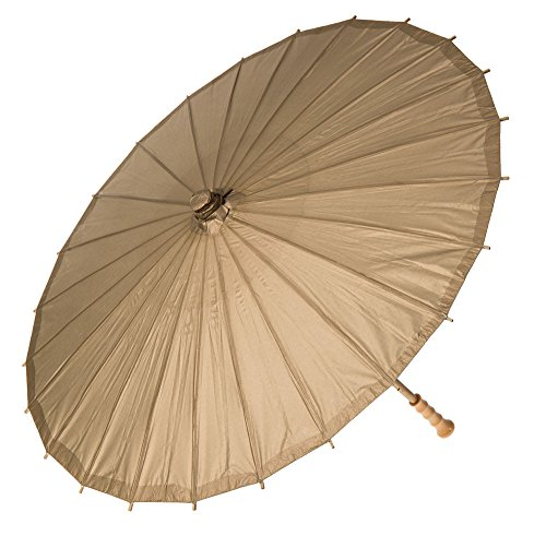 Luna Bazaar Paper Parasol (32-Inch, Champagne) – Chinese/Japanese Paper Umbrella – for Weddings and Personal Sun Protection