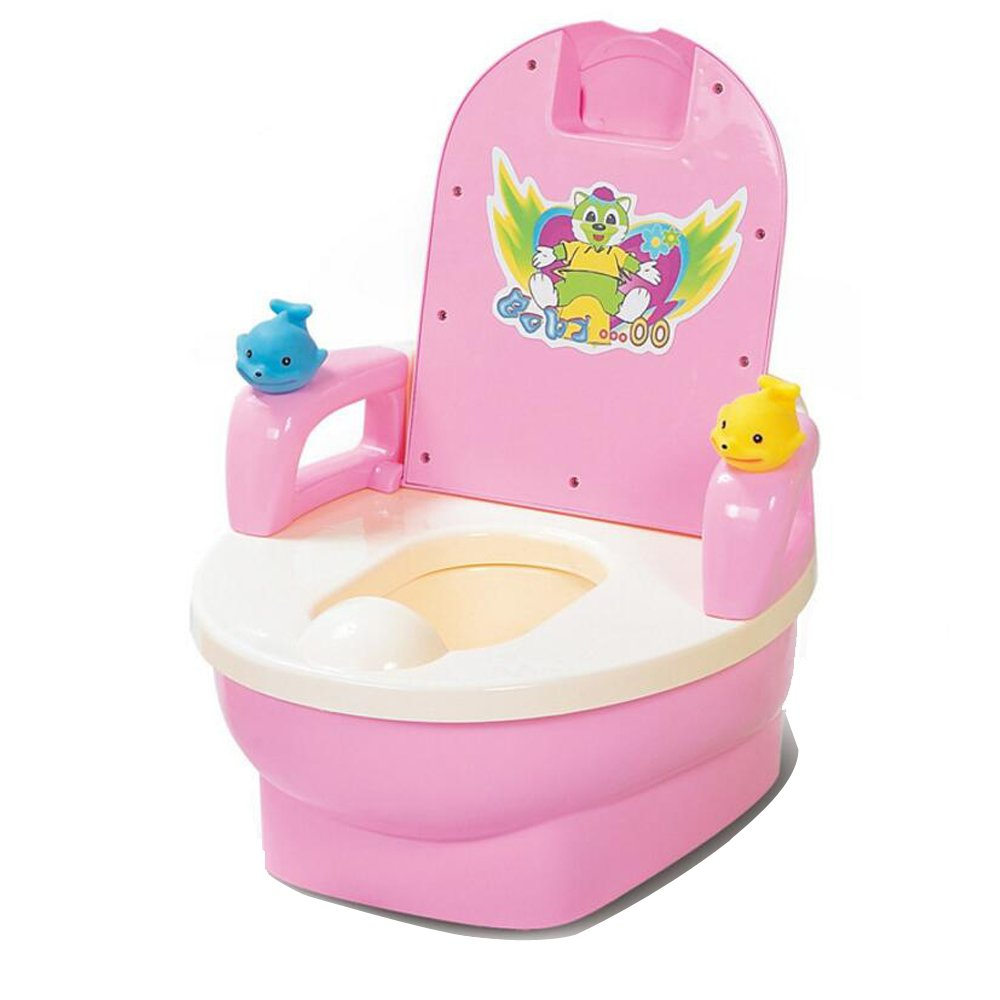 JUNBOSI Baby Toddler Potty Multi Stage Potty Child Toddler Training - Toilet Trainer Seat With Splash Guard And Handles Step Stool Potty & Training Seat (Color : Pink)