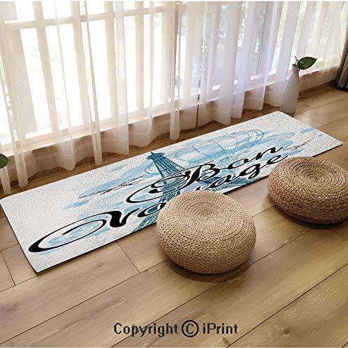 Flannel Long mat,Eiffel Tower Air Balloon Watercolor Bon Voyage Bird Light Blue Black Blue,18