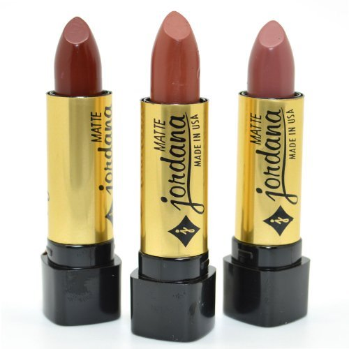 JORDANA LOT OF 3 MATTE LIPSTICK BROWN CAFE TAUPE COLLECTION SHADES JDSET07 + FREE EARRING]()