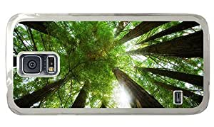 Hipster Samsung Galaxy S5 Case rubber Dense Green Treetop PC Transparent for Samsung S5