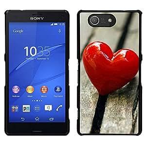 EJOY---Cubierta de la caja de protección para la piel dura ** Sony Xperia Z3 Compact ** --El amor del Corazón y Madera