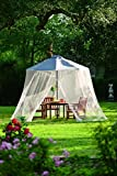 Plow & Hearth Outdoor Umbrella Canopy Mosquito And Insect Net With Zippered Opening - Breathable Woven Polyester Mesh - White - 102'' dia. x 84''H, Fits Over 7' or 9' Umbrella