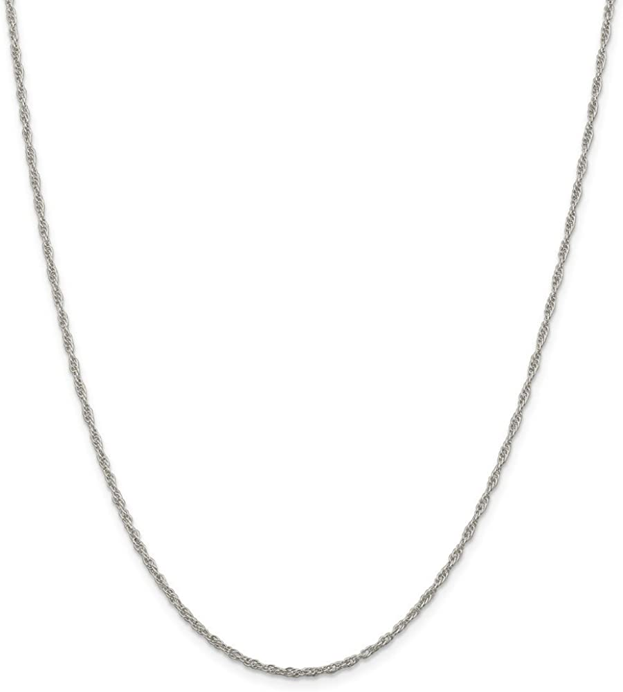 Sterling Silver 1.95mm Loose Rope Chain Necklace 16 Inches