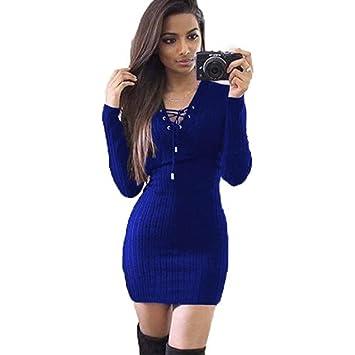 Vestido corto para mujer, de Sonnena, para invierno, de manga larga, de