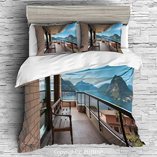 FULL Size Cute 3 Piece Duvet Cover Sets Bedding Set Collection [ Modern Decor,Lugano Lake Panoramic View From Terrace of Apartment Mountains and Sea,Light Brown Blue ] Comforter Cover Set for Kids Gir