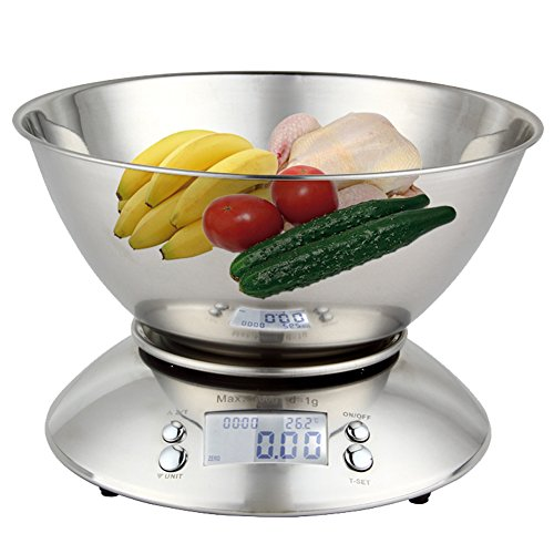 ParaCity Digital Kitchen Scale 11lb/5kg Stainless Steel Electronic Cooking Food Scale with Detachable Mixing Bowl, Ambient Temperature Sensor and Kitchen Timer Alarm, Backlight LCD Display