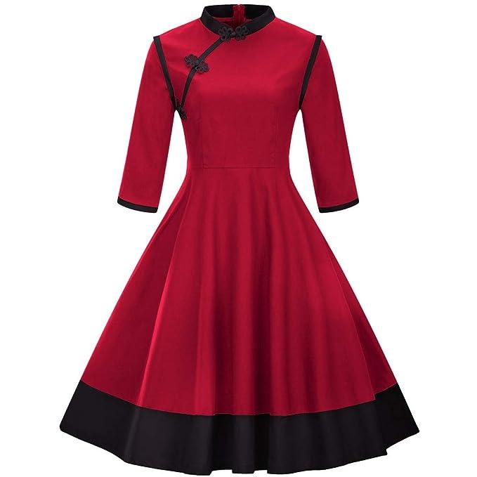 MCYs Damen 34 Ärmel Patchwork Vintage Kleid Retro Kleid