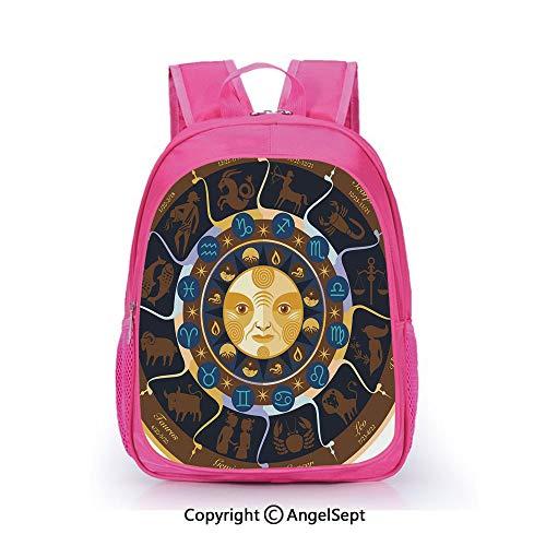 - Fashion Kindergarten Children Waterproof Bookbag,Aries Taurus Gemini Cancer Leo Virgo Libra Scorpio Horoscope Signs Brown Yellow and Blue,15.7inch,Elementary School Travel Bag For Girls