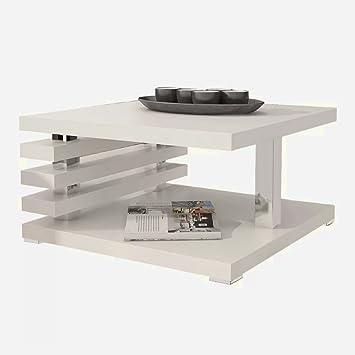 Sts Supplies Ltd Couchtisch Ausgefallen Silber Weiss Weiss 60x60